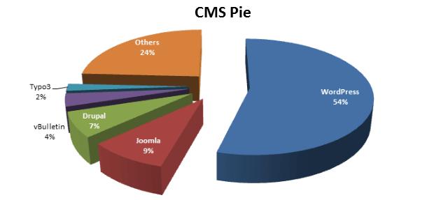 Процентное соотношение использования различных CMS