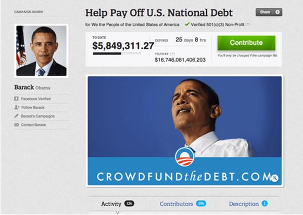 Страница для сбора пожертвований Б. Обамы