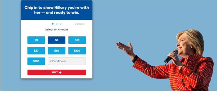 Форма для финансовой поддержки на сайте кандидата в президенты США, Хилари Клинтон